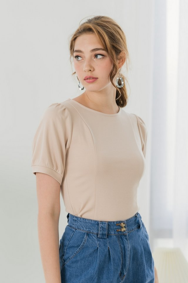 Clarisse Puffed Sleeves Top in Sand