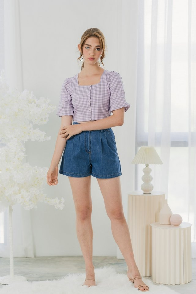 Vicki Gingham Button Crop Top in Lilac Pink