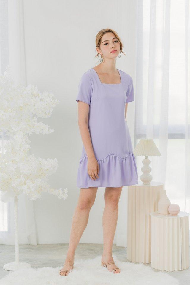Kaylie Scallop Dropwaist Dress in Lilac