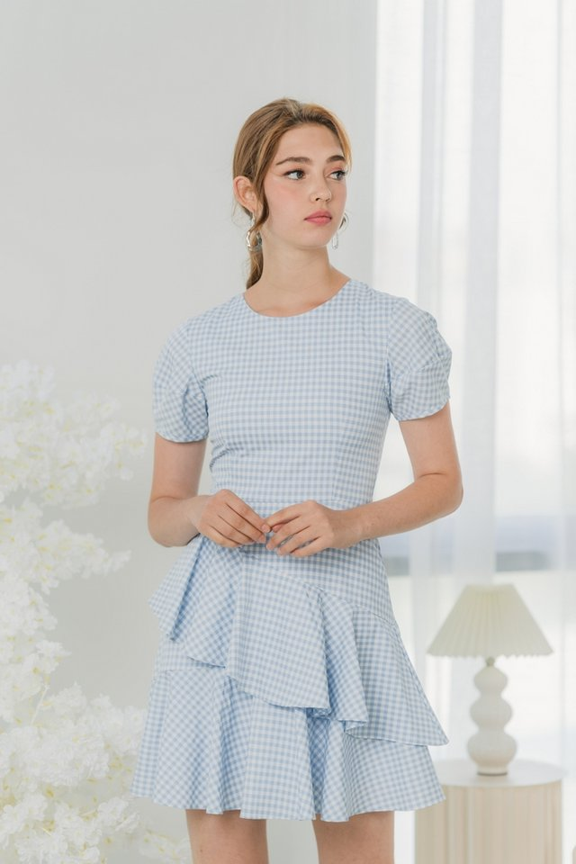 Aesa Gingham Tiered Ruffles Dress in Baby Blue