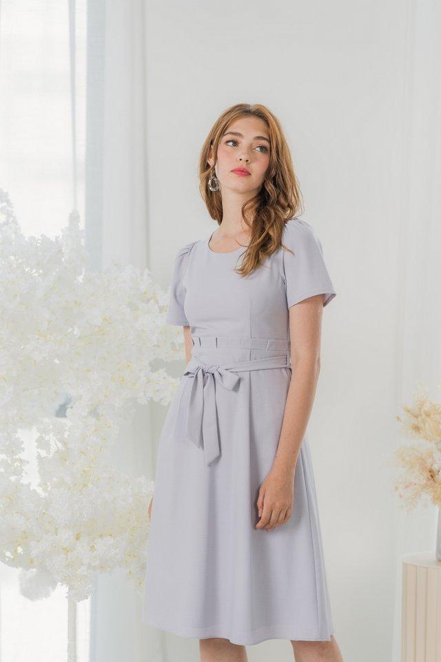 Nicolette Paperbag Midi Dress in Lavender Grey