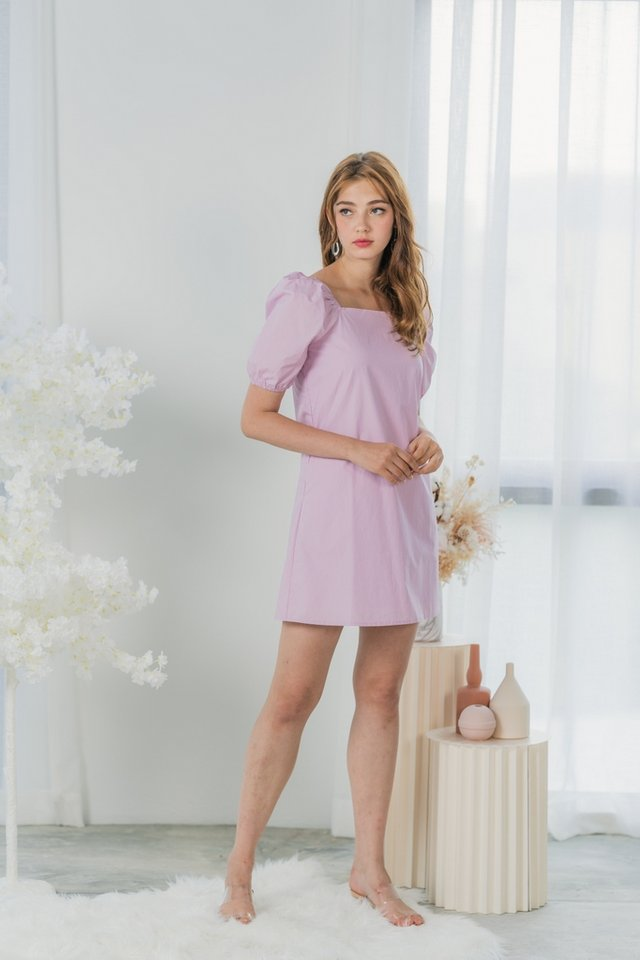 Rochelle Two Way Square Neck Dress in Lilac Pink