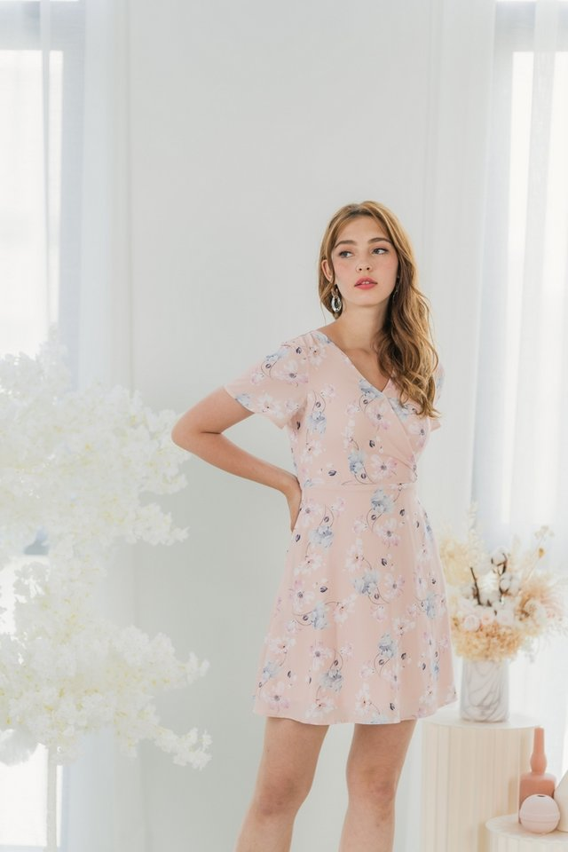 Abigail Sakura Faux Wrap Dress in Blush