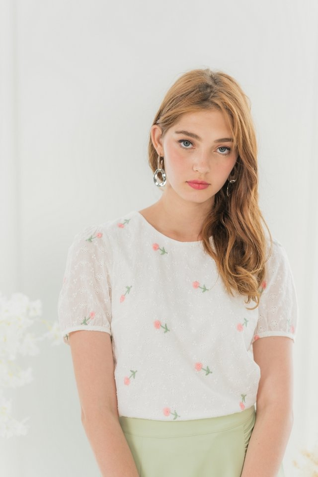 Arabelle Floral Embroidery Eyelet Top in White