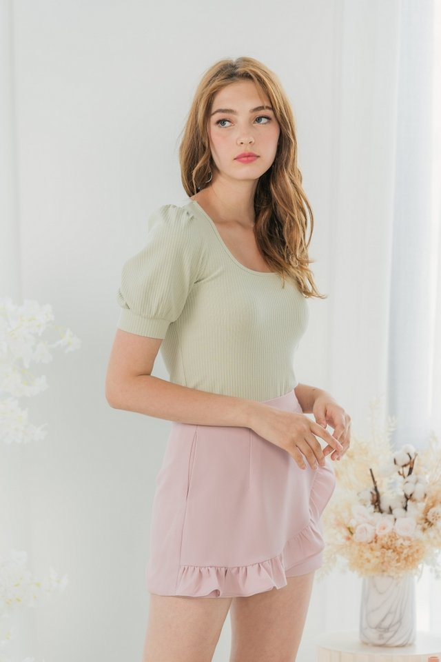Maddy Ribbed Puffed Sleeves Top in Avocado