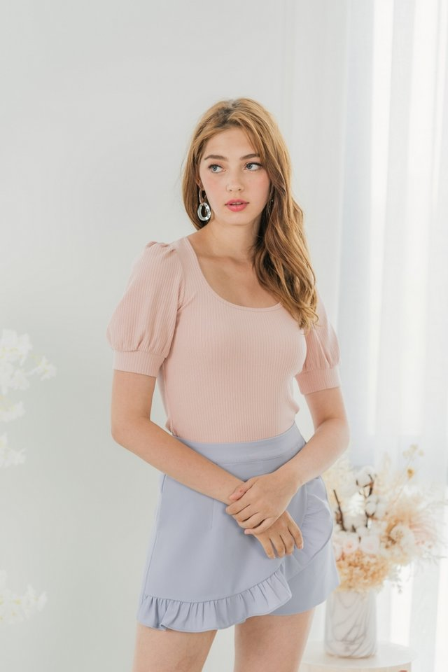 Maddy Ribbed Puffed Sleeves Top in Blush