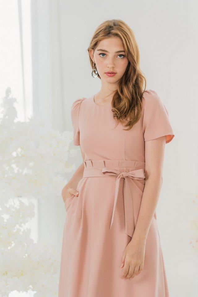 Nicolette Paperbag Midi Dress in Blush