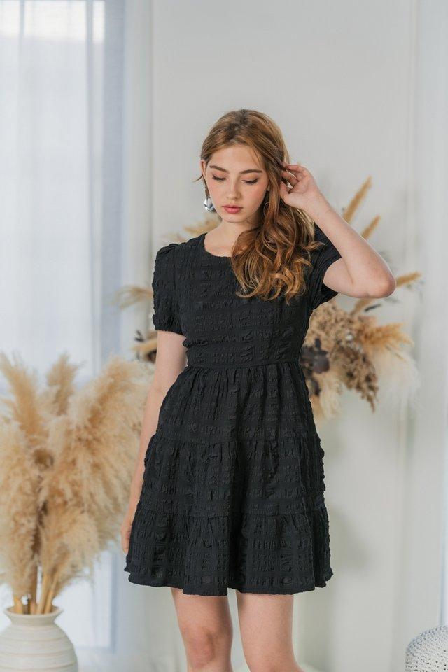 Alycia Textured Tiered Babydoll Dress in Black