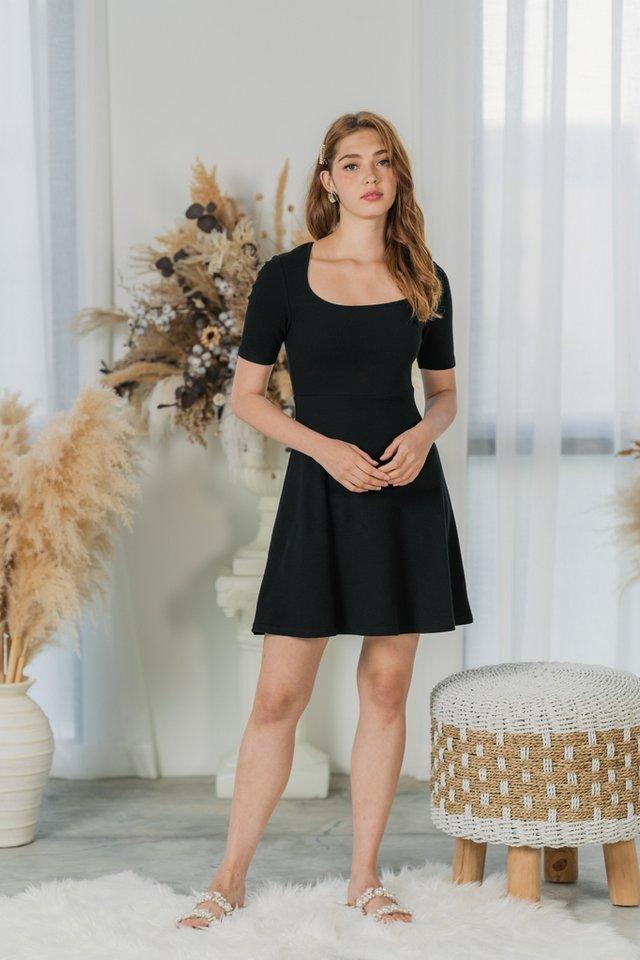 Lynetta Ribbed Square Neck Skater Dress in Black