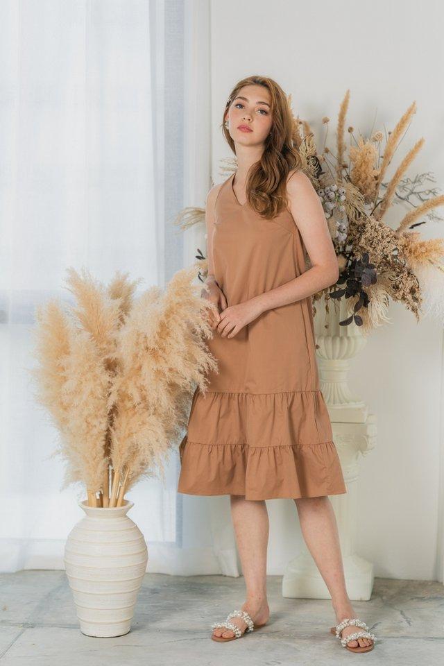 Jessie Tiered Ruffles Midi Dress in Mocha