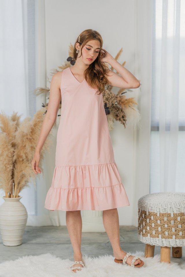 Jessie Tiered Ruffles Midi Dress in Blush