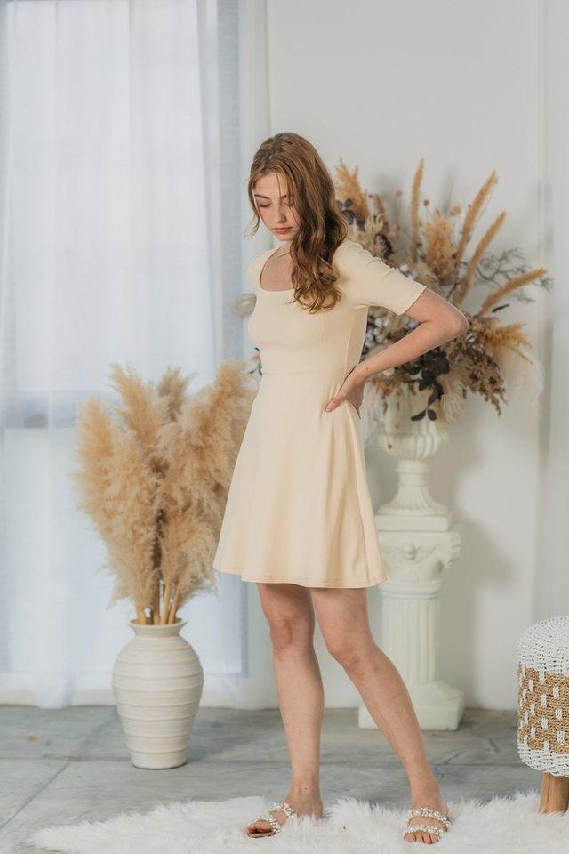 Lynetta Ribbed Square Neck Skater Dress in Cream