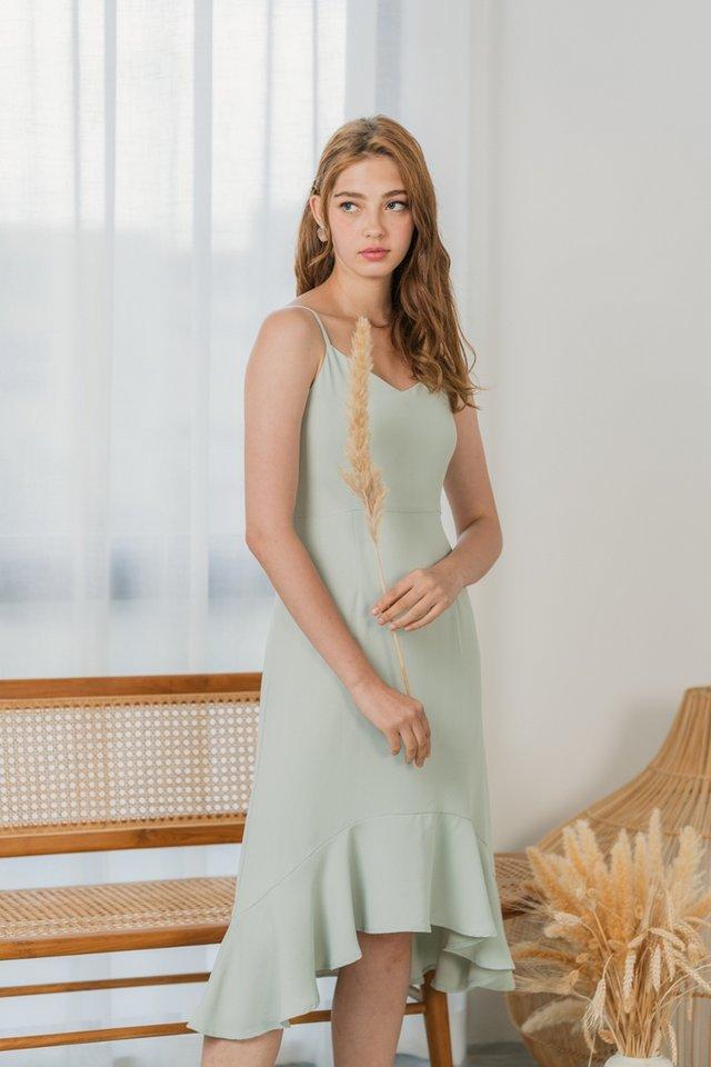 Shaye Camisole Petal Hem Midi Dress in Sage