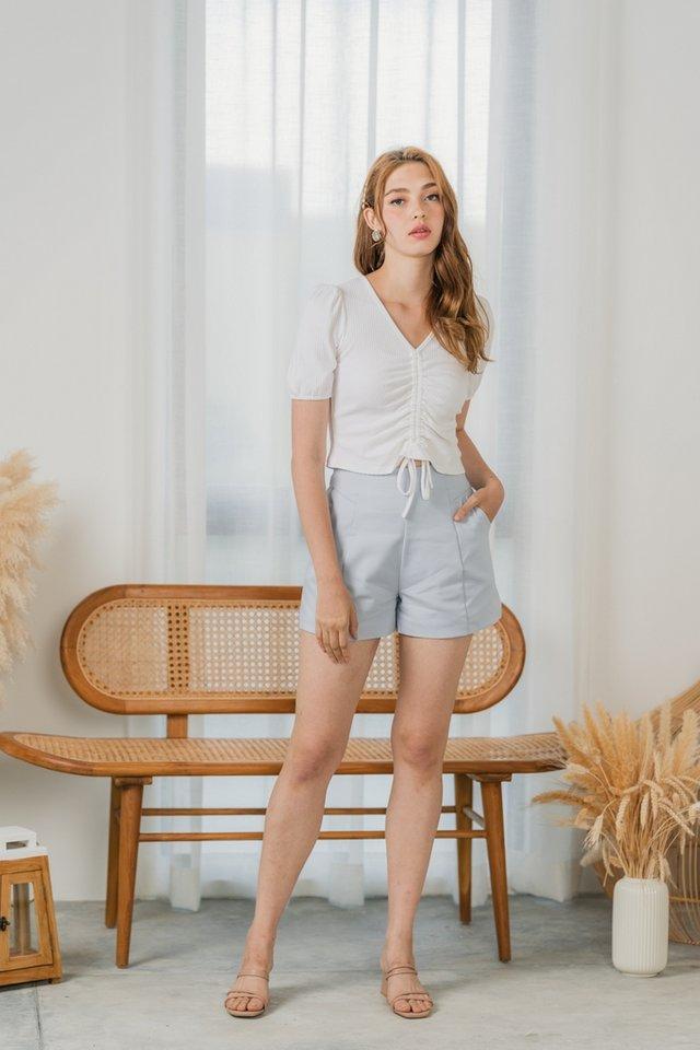 Helda High Waisted Pocket Shorts in Powder Blue