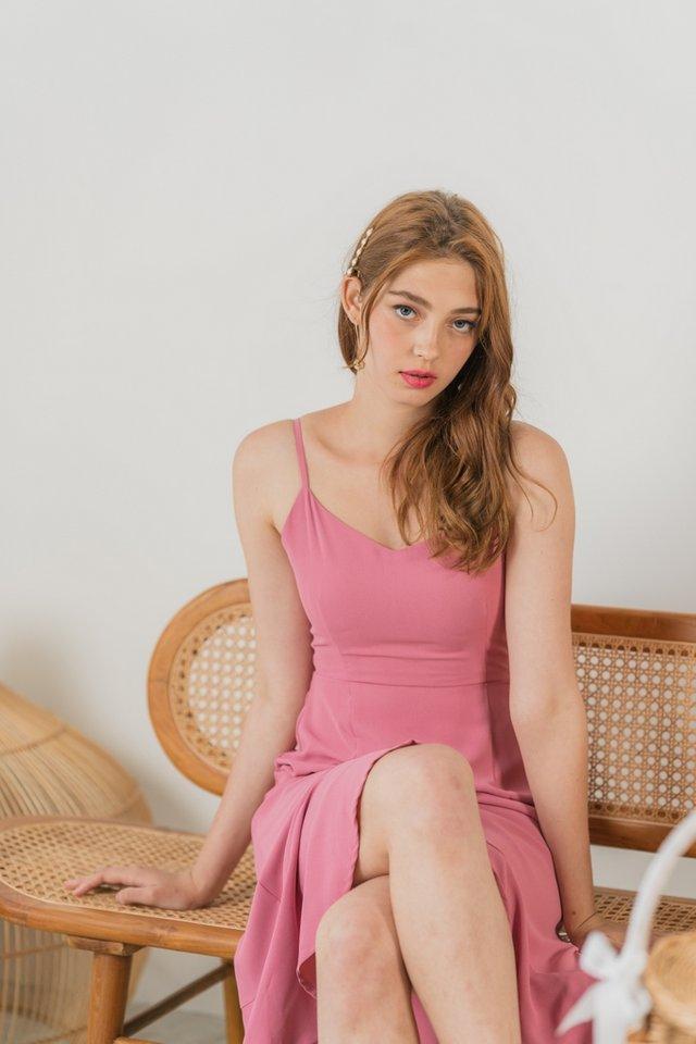 Shaye Camisole Petal Hem Midi Dress in Rose Pink