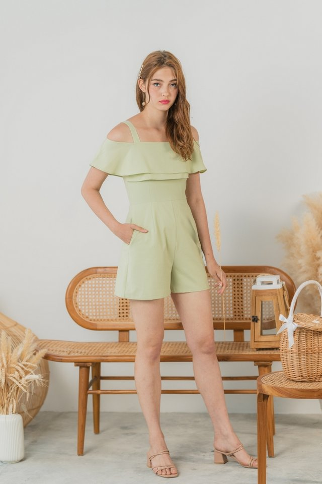 Darlyn Cold Shoulder Tiered Romper in Pastel Green