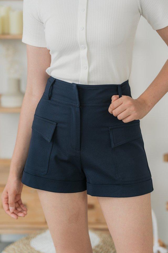 Micah Pocket High Waist Shorts in Navy