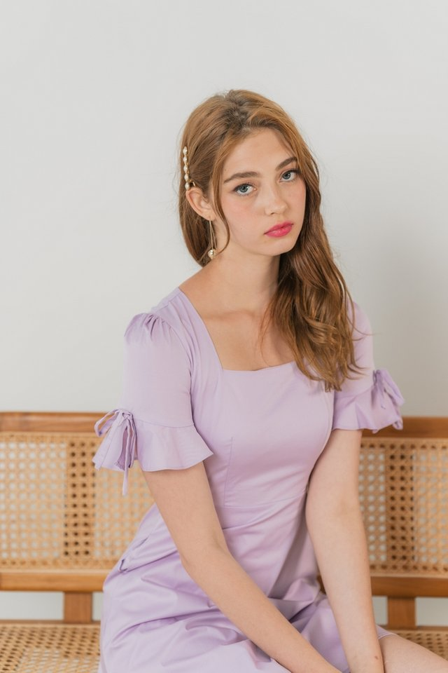 Yves Ribbon Flutter Sleeves Dress in Lilac