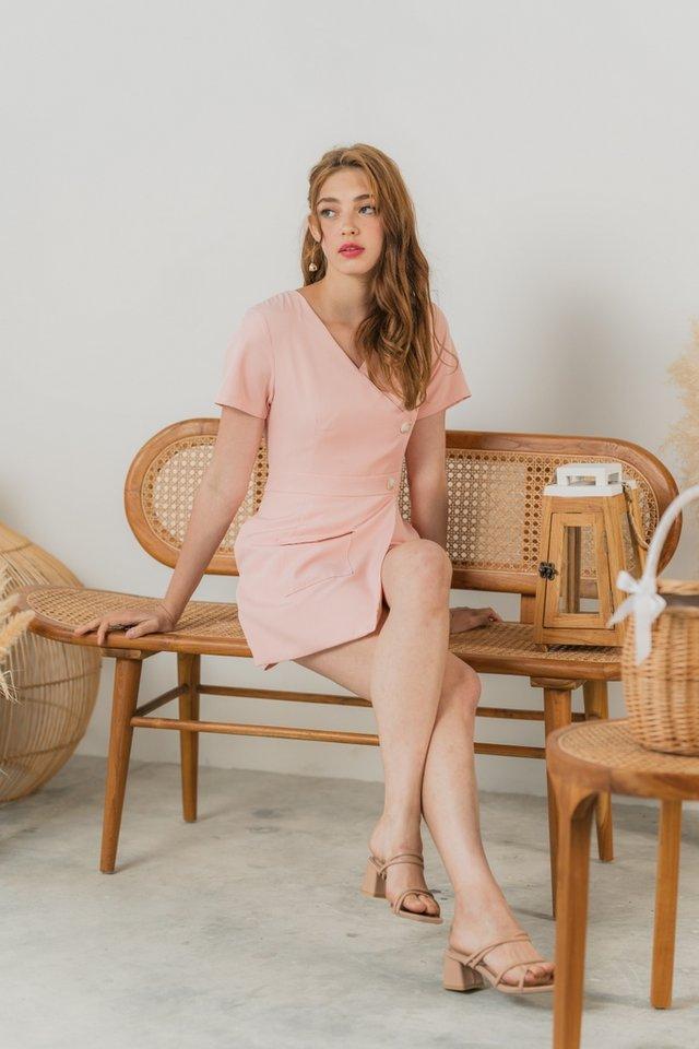 Kiera Button Overlap Romper in Pastel Pink