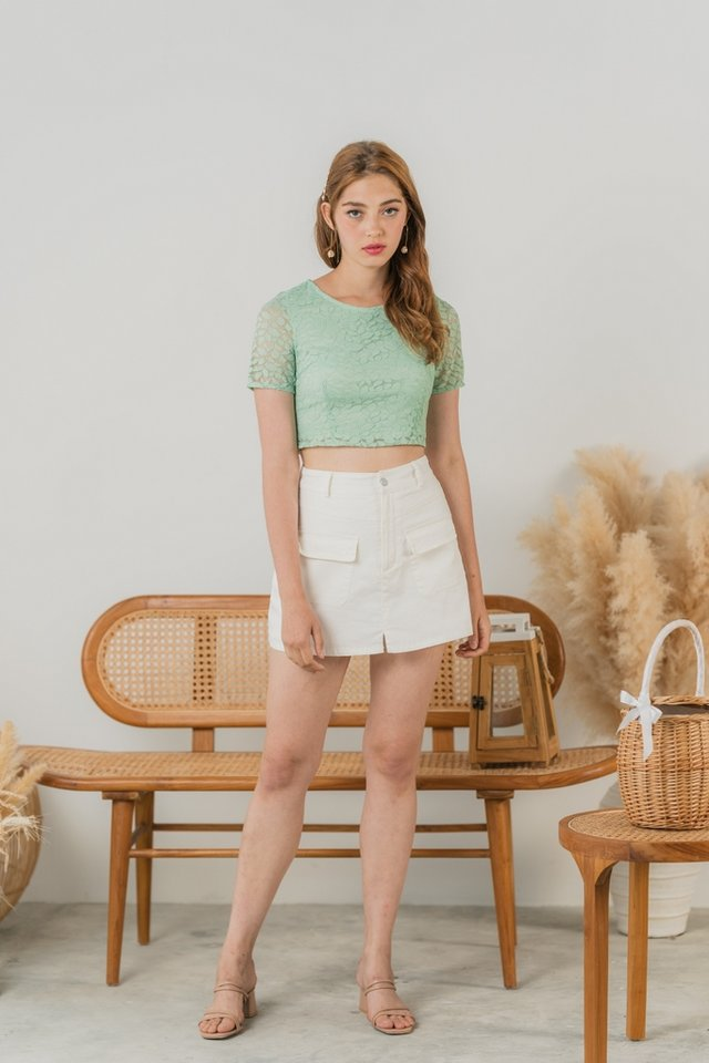 Erica Leafy Lace Crop Top in Sage