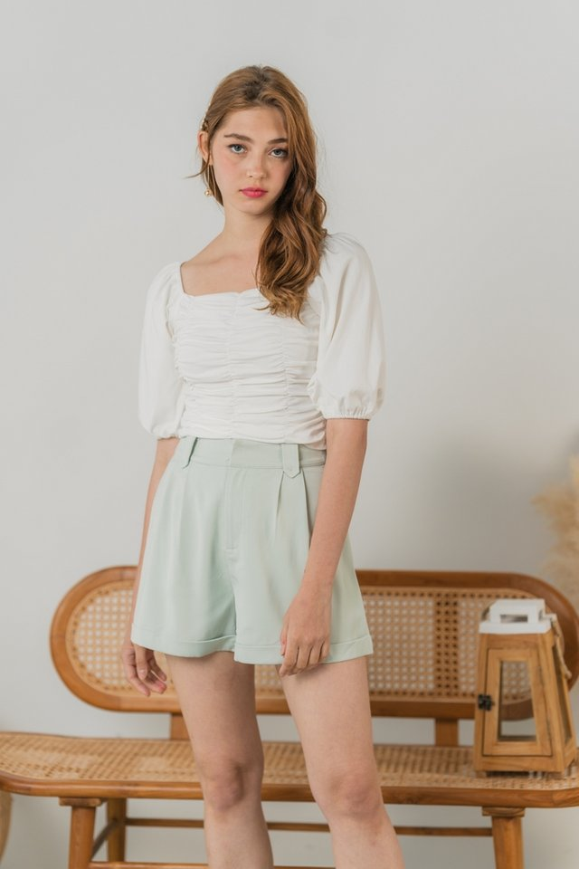 Jovina Ruched Two Way Top in White