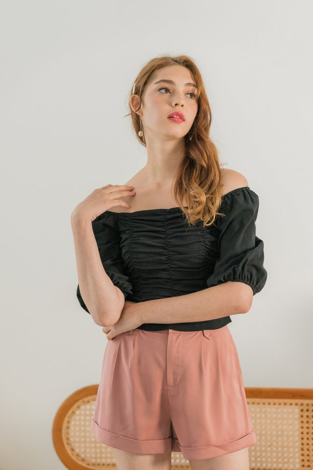Jovina Ruched Two Way Top in Black