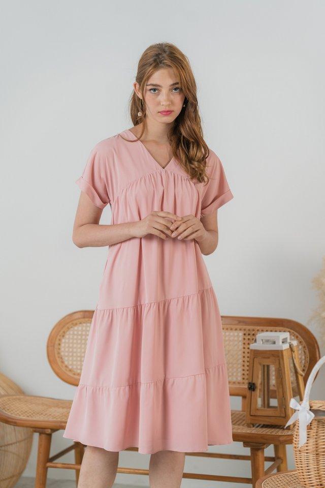 Cynthia Empire Babydoll Midi Dress in Blush Pink