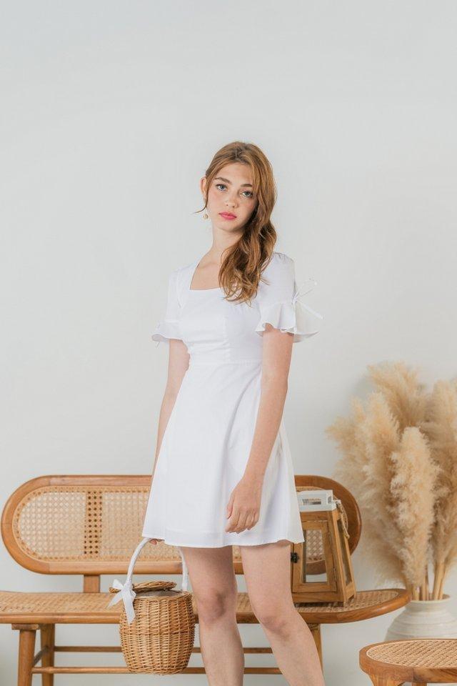 Yves Ribbon Flutter Sleeves Dress in White