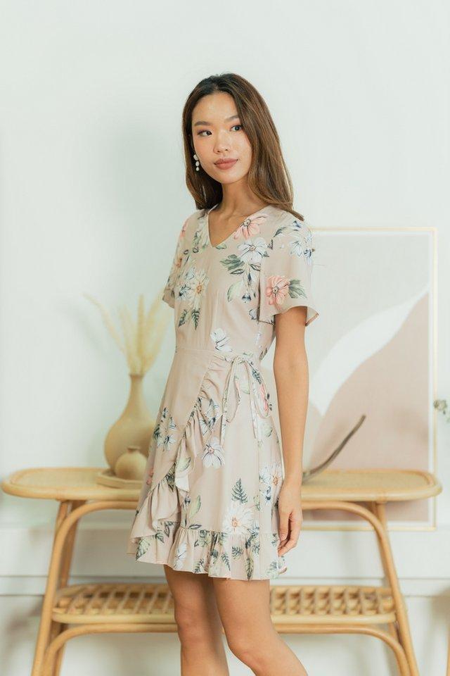 Joella Floral Signature Ruffles Dress in Taupe