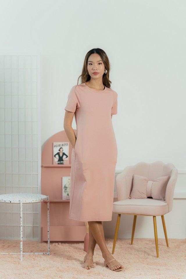 Earleen Cotton Basic Midi Dress in Blush Pink