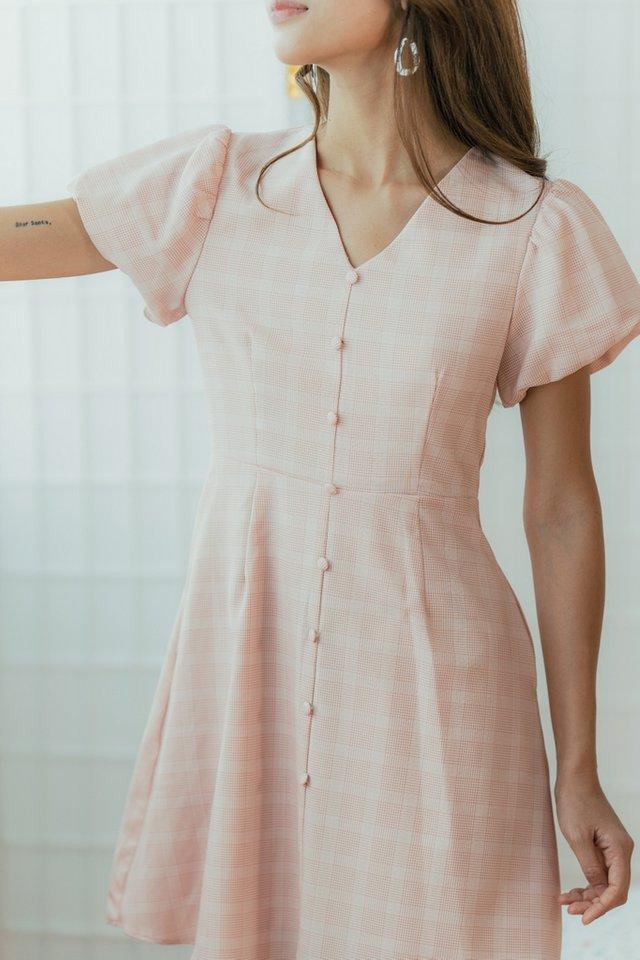 Cherrie Plaid Puffed Sleeves Dress in Blush