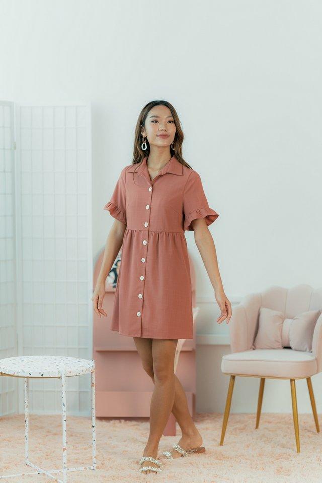 Jernice Flutter Sleeves Shirt Dress in Terracotta
