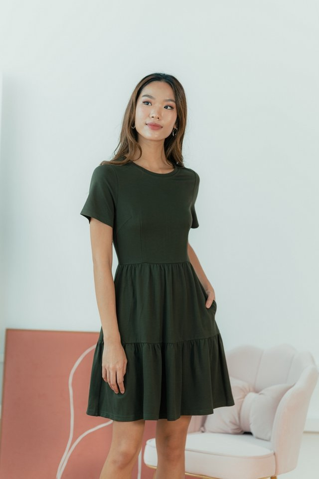 Violetta Cotton Tiered Babydoll Dress in Olive