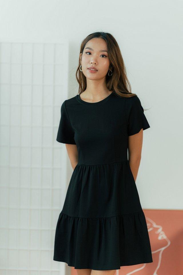 Violetta Cotton Tiered Babydoll Dress in Black