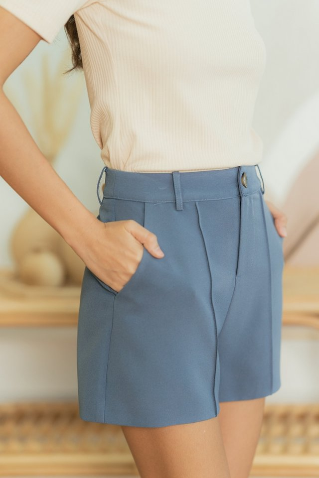 Colette Button Shorts in Steel Blue
