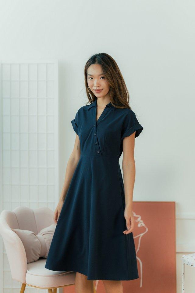 Taryn Kimono Button Midi Dress in Navy