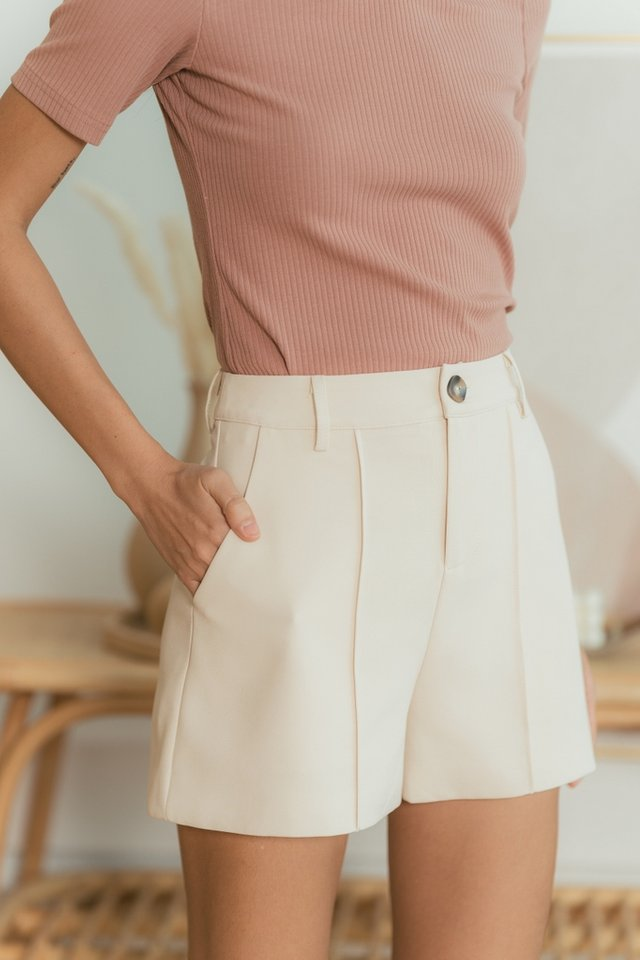 Colette Button Shorts in Sand
