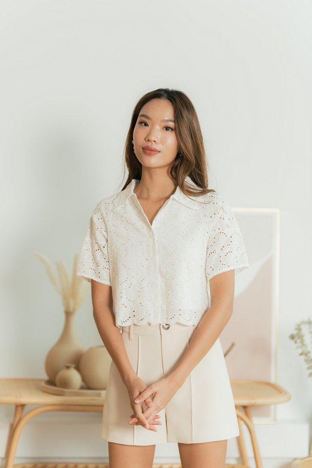 Leanna Eyelet Button Top in White