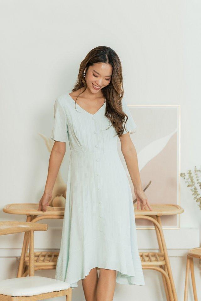Ineza Textured Button Midi Dress in Light Tiffany