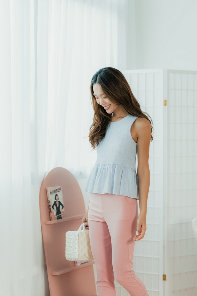 Leonie Button High Waisted Pants in Pink