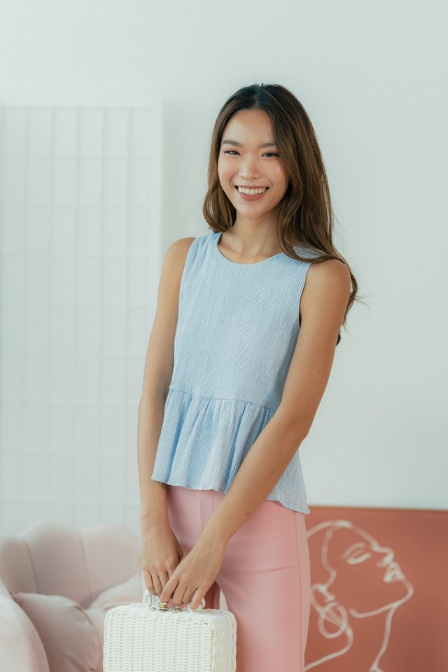Jermaine Textured Babydoll Top in Powder Blue