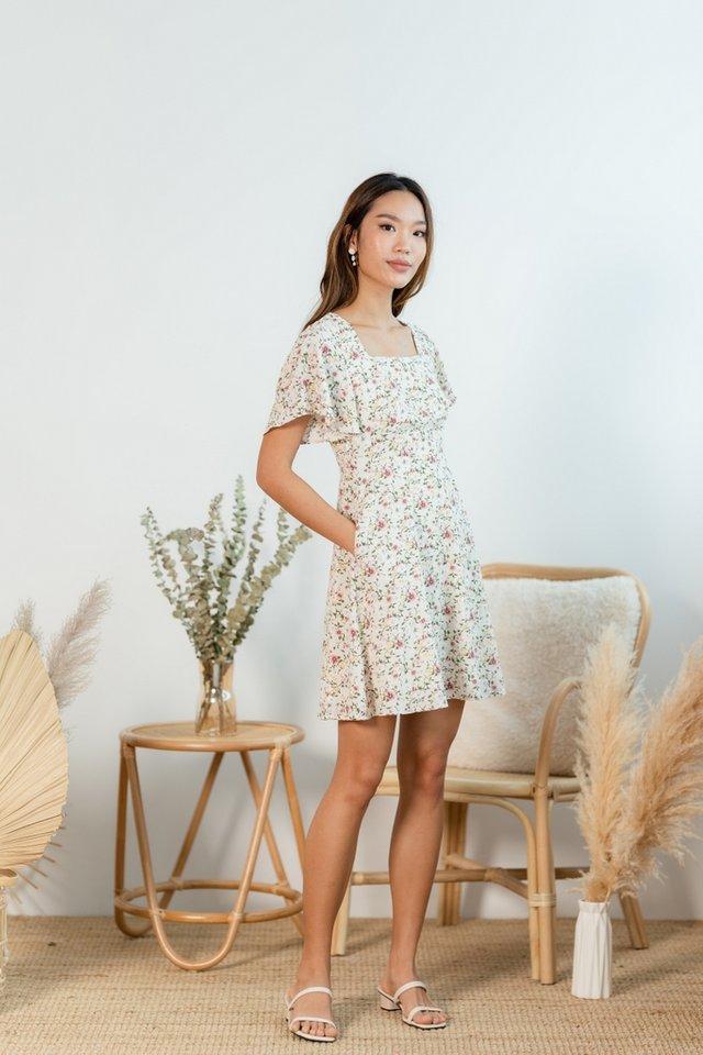 Cheyenne Floral Square Neck Dress in Cream