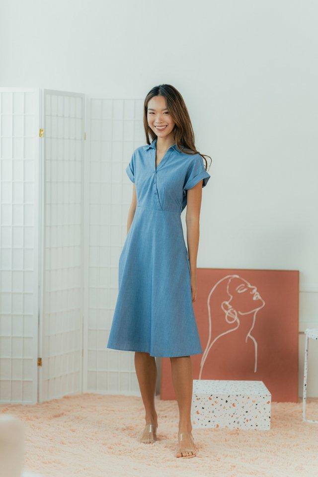 Taryn Kimono Button Midi Dress in Denim Blue