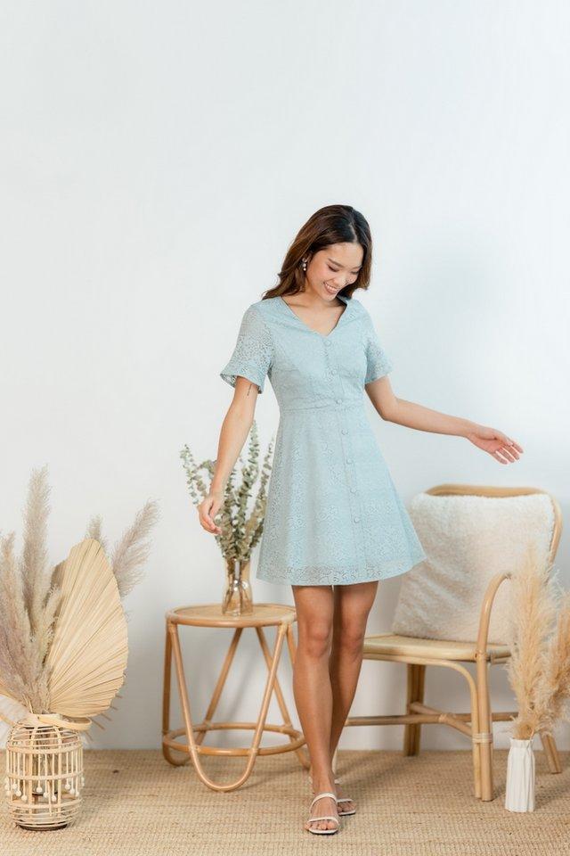 Ciara Hearts Lace Button Dress in Seafoam