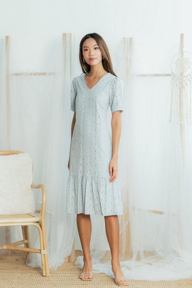Melodie Eyelet Dropwaist Midi Dress in Dusty Blue