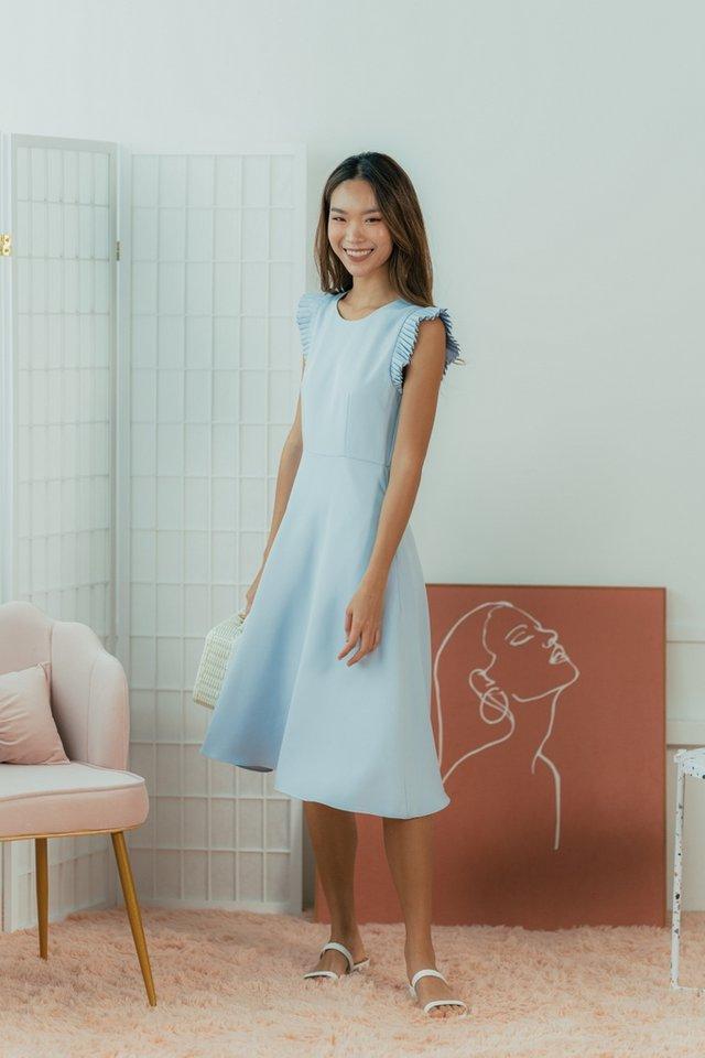 Phoebe Pleated Sleeves Midi Dress in Powder Blue