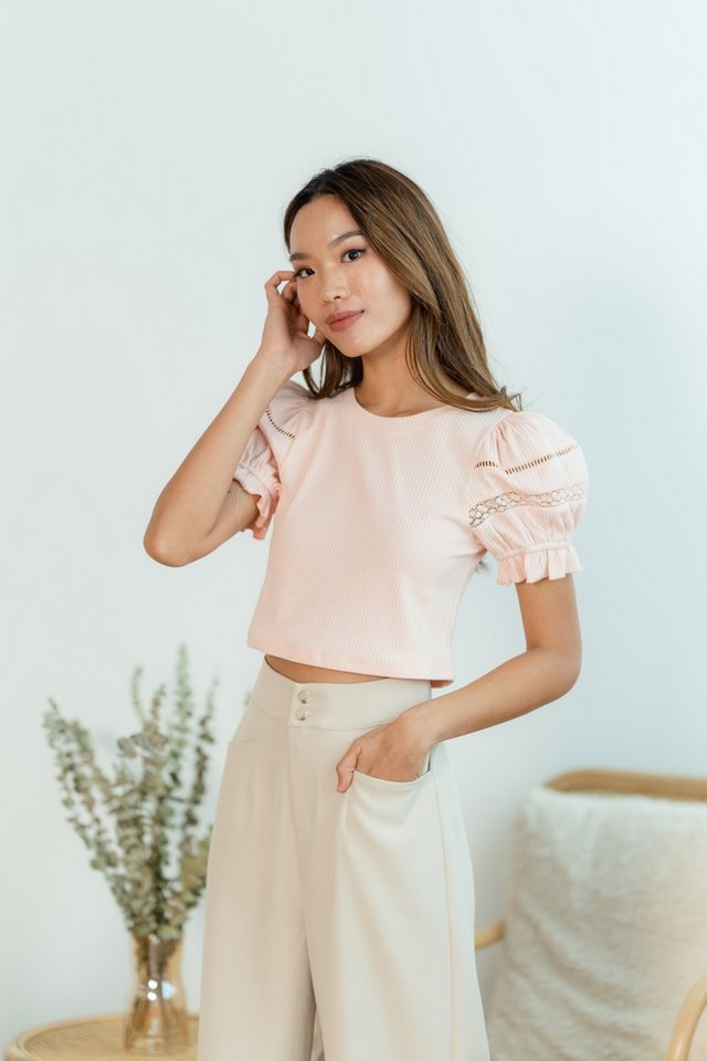 Gisella Lace Trim Ribbed Top in Blush Pink