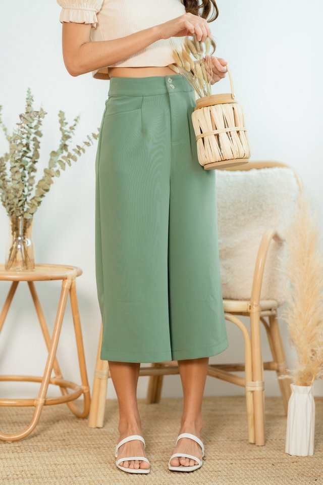 Jelena Double Button Culottes in Jade Green