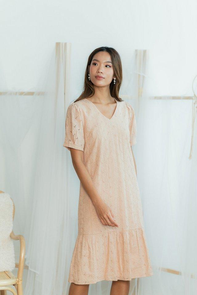 Melodie Eyelet Dropwaist Midi Dress in Nude Peach