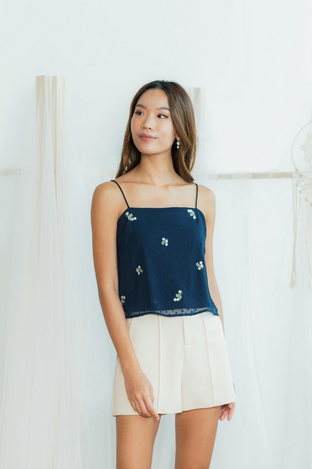 Brea Swiss Dot Floral Embroidery Camisole Top in Navy
